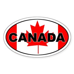 Canadian Flag Oval Sticker (Oval 10 pk)