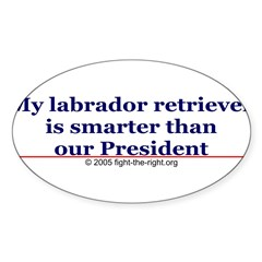 My labrador retriever is smarter (bumper sticker) Sticker (Oval 10 pk)