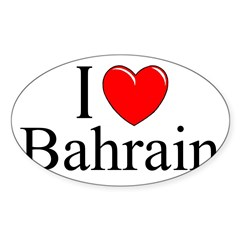 """I Love Bahrain"" Rectangle Sticker (Oval 10 pk)"