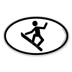 """Snowboarder"" - Oval Sticker (Oval 10 pk)"