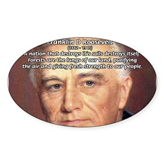 American President FDR Rectangle Sticker (Oval 10 pk)