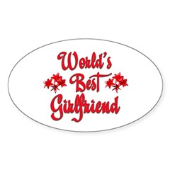 World's Best Girlfriend Rectangle Sticker (Oval 10 pk)