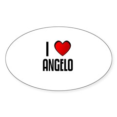 I LOVE ANGELO Rectangle Sticker (Oval 10 pk)