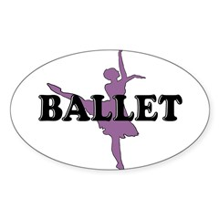 Female Ballet Silhouette Rectangle Sticker (Oval 10 pk)