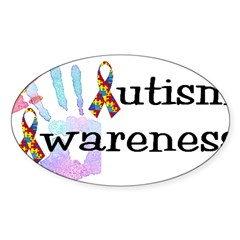 Autism Awareness Rectangle Sticker (Oval 10 pk)
