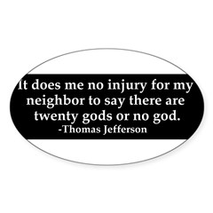 Jefferson religious tolerence Sticker (Oval 10 pk)