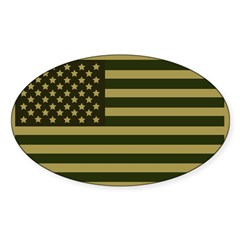 American Flag Sticker (Drab) Sticker (Oval 10 pk)