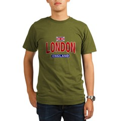 London England Ash Grey Organic Men's T-Shirt (dark)