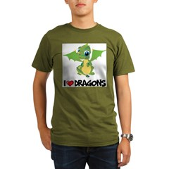 I Love Dragons Ash Grey Organic Men's T-Shirt (dark)
