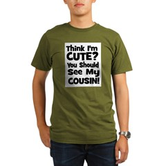 Think I'm Cute? Cousin - Blac Organic Men's T-Shirt (dark)