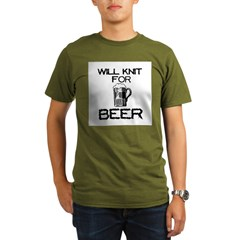 Will Knit for Beer Organic Men's T-Shirt (dark)