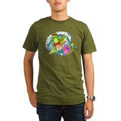 Surfing Gecko Lizard Organic Men's T-Shirt (dark)