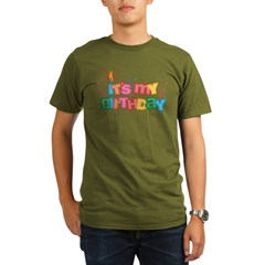 It's My Birthday Letters Organic Men's T-Shirt (dark)