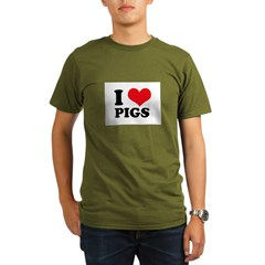 I Heart Pigs Organic Men's T-Shirt (dark)