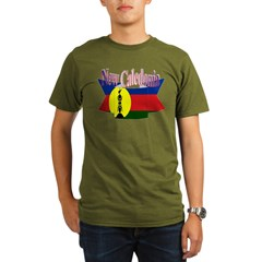 New Caledonian flag ribbon Organic Men's T-Shirt (dark)