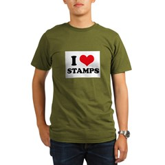 I Love (Heart) Stamps Organic Men's T-Shirt (dark)