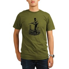Cricket Player Organic Men's T-Shirt (dark)