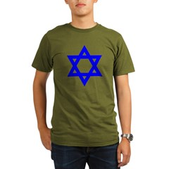 Star of David Blue Organic Men's T-Shirt (dark)