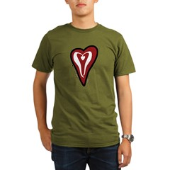 Valentine Dotty Heart Organic Men's T-Shirt (dark)