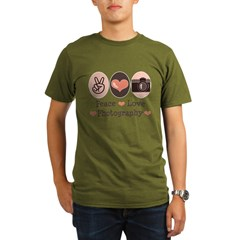 Peace Love Photography Camera Organic Men's T-Shirt (dark)