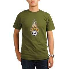 Soccer Ball & Flame Organic Men's T-Shirt (dark)