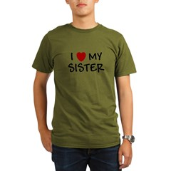 I LOVE MY SISTER I HEART MY S Organic Men's T-Shirt (dark)