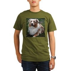 Red Merle Aussie Organic Men's T-Shirt (dark)
