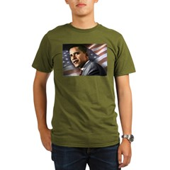 Flag Background with Obama Organic Men's T-Shirt (dark)