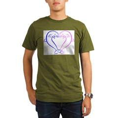 Dolphin Heart Blue and Pink Organic Men's T-Shirt (dark)