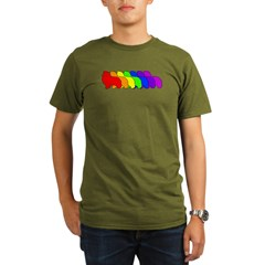 Rainbow Sheltie Organic Men's T-Shirt (dark)