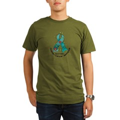 Flower Ribbon OVARIAN CANCER Organic Men's T-Shirt (dark)