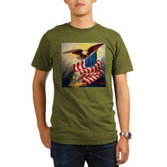 """Eagle with Flag"" Organic Men's T-Shirt (dark)"