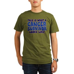 CANCER SURVIVOR (BLUE) Organic Men's T-Shirt (dark)