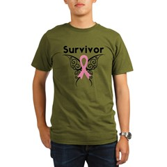 TribalButterflyBreastCancer Organic Men's T-Shirt (dark)