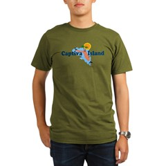 Captiva Island FL - Map Design Organic Men's T-Shirt (dark)