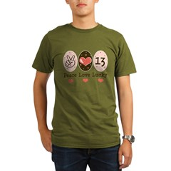 Peace Love Lucky 13 Organic Men's T-Shirt (dark)