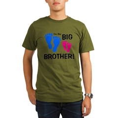 Big Brother Baby Footprints Organic Men's T-Shirt (dark)