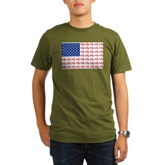 Old Time Motorcycle Flag Organic Men's T-Shirt (dark)