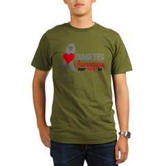 Diabetes Heart Ribbon Organic Men's T-Shirt (dark)