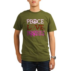 Peace, Love, Boobies -- Breast Cancer Awareness Organic Men's T-Shirt (dark)