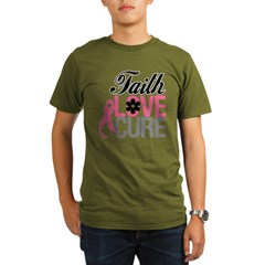 Faith Love Cure Breast Cancer Organic Men's T-Shirt (dark)