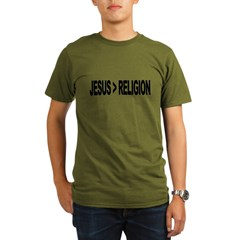 Jesus Greater Than Religion Organic Men's T-Shirt (dark)