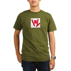 ASL Rocks: Red Organic Men's T-Shirt (dark)