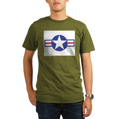 US USAF Aircraft Star Ash Grey Organic Men's T-Shirt (dark)