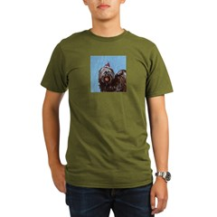 Tibetan Terrier xmas santa ha Ash Grey Organic Men's T-Shirt (dark)