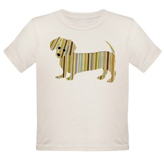 Striped Dachshund Puppy Organic Toddler T-Shirt