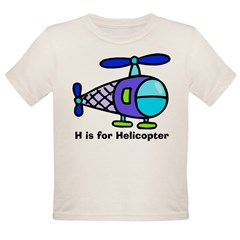 H is for Helicopter! Kids Organic Toddler T-Shirt