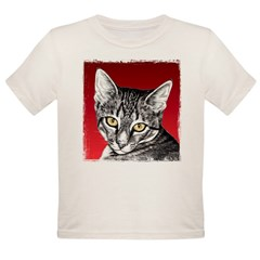 Pencil Tabby Red Background Organic Toddler T-Shirt