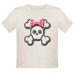Girl Skull and Crossbones Pink Bow Organic Toddler T-Shirt