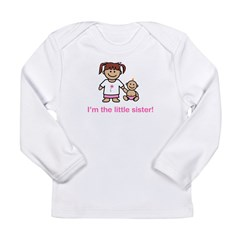 """I'm the little sister!"" (pink) Kids Long Sleeve Infant T-Shirt"